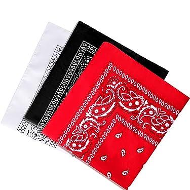 Mukum 3Pcs Cowboy Bandanas for Men and Women Paisley Bandanas Print Head Wrap Scarf, 22x22Inch