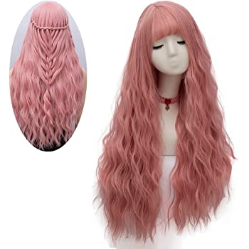 netgo Women's Pink Wig Long Fluffy Curly Wavy Hair Wigs for Girl Heat Friendly Synthetic Cosplay Party Wigs