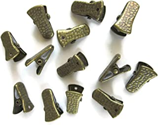 Metal Bulldog Clips for ID Badge Holders Lanyards Jewelry - Mini Alligator Grip Style (Brass)
