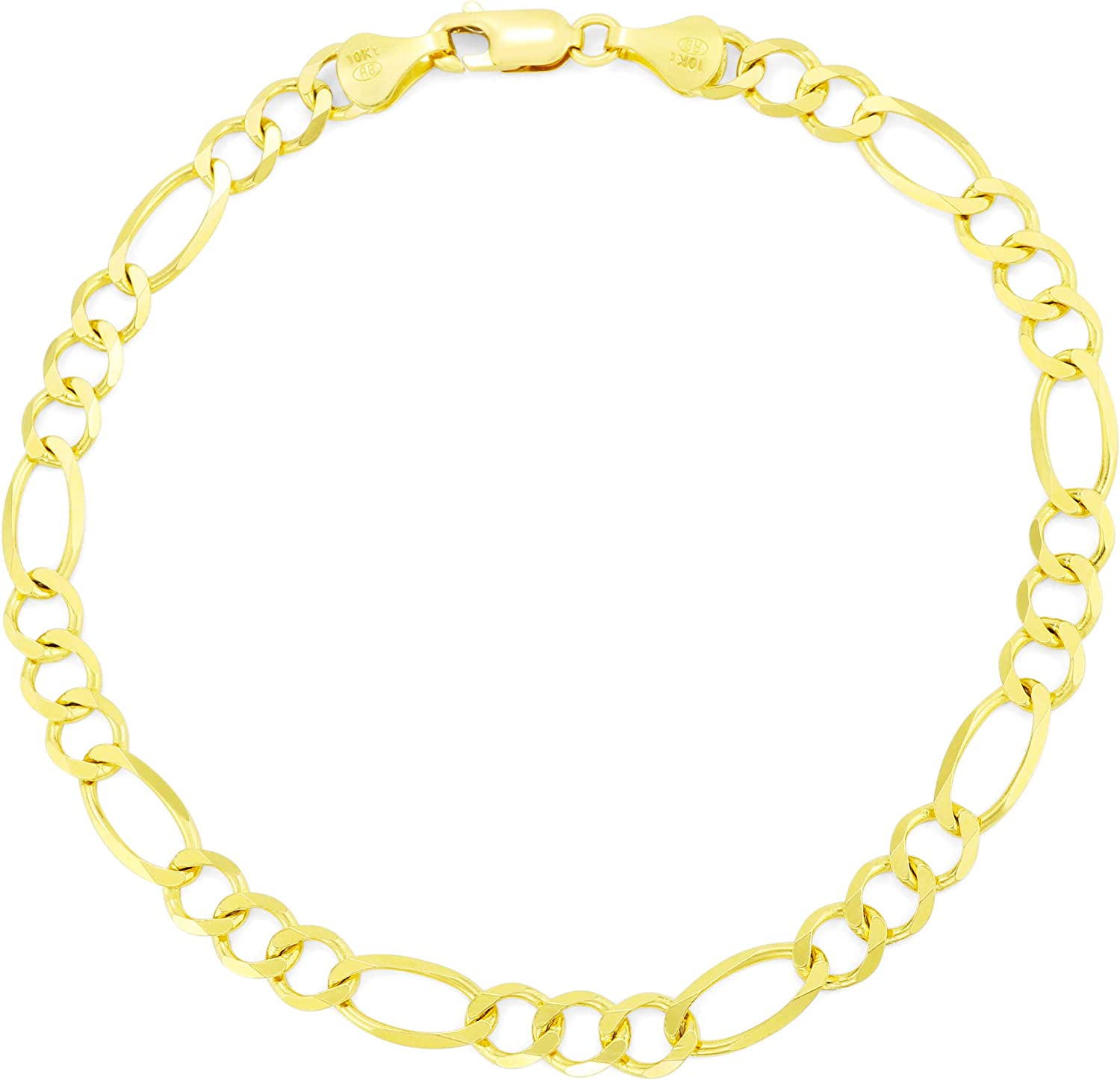 Nuragold 10k Yellow Gold 5.5mm Now free Indefinitely shipping Mens Bracelet Figaro Link Chain
