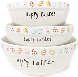 Rae Dunn By Magenta 3 Piece HAPPY EASTER. Ceramic Egg Icon Script Nesting Serving Mixing Bowl Set