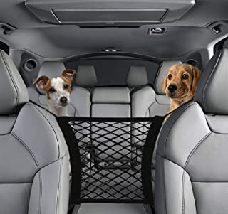 2-Layer Car Seat Storage Mesh, YICAI Universal Car Pocket Organizer, Car Dog Barrier of Vehicle Backseat Pets Kids, Stretchable Net Pouch Holder for Cargo Tissue Purse
