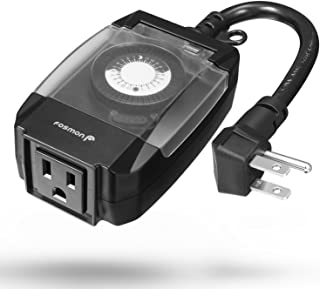 Fosmon C-10707US Outdoor 15A 24-Hour Mechanical Light Timer, 3-Prong ETL Listed Water Resistance and Heavy Duty Grounded Outlet with 7inch Power Cord - Black, 1 Plug
