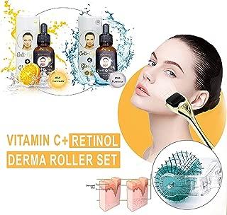 {SET OF 3} Anti-Aging & Anti Wrinkle Titanium Derma Roller Kit + 🌞 Vitamin C Serum to Restore Collagen + ☽ Firming Advanced Retinol | Korean skincare bundle (3 Pcs)