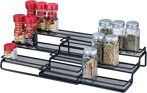 3 Tier Expandable Cabinet Spice Rack Organizer Step Shelf With Protection Railing 12 5 To 25 W Black