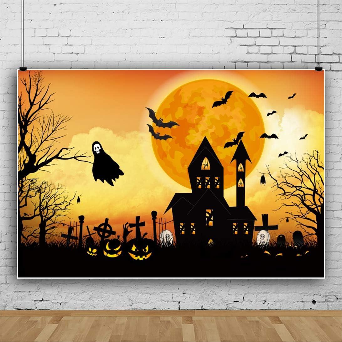 DaShan 12x10ft Horrible Halloween Backdrop Scary Graveyard Castle Witch Wizard Sorcerer Theme Halloween Party Photography Background Moon Pumpkins Lamp Halloween Celebration Decor Photo Prop