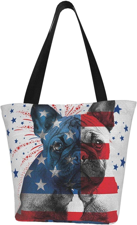 Bulldog Blue Red American Flag Patriot Themed Printed Women Canvas Handbag Zipper Shoulder Bag Work Booksbag Tote Purse Leisure Hobo Bag For Shopping