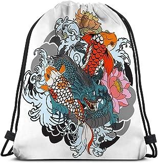 Drawstring Bundle Bag Sport Travelling Knapsack For Everyone hand drawn dragon koi fish flower arm japanese carp line drawing coloring book image hand drawn dragon