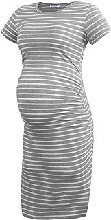 Smallshow Vestido de Maternidad de Manga Corta para Mujeres Ropa Fruncida para Embarazadas
