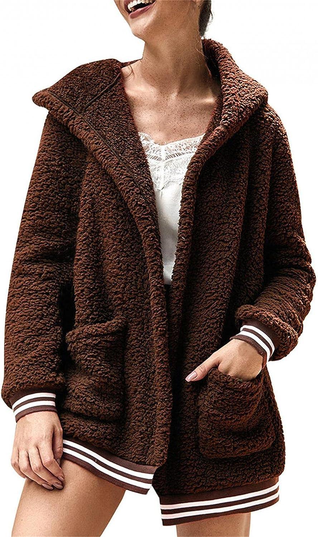 DZQUY Womens Over Size Casual Fuzzy Fleece Hooded Jacket Cardiga