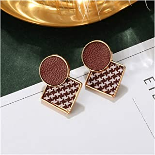 Fashion Brown Geometry Vintage Prevent Allergy Drop Earrings For Women,Party Pendant Earring Jewelry (Color : EH321)