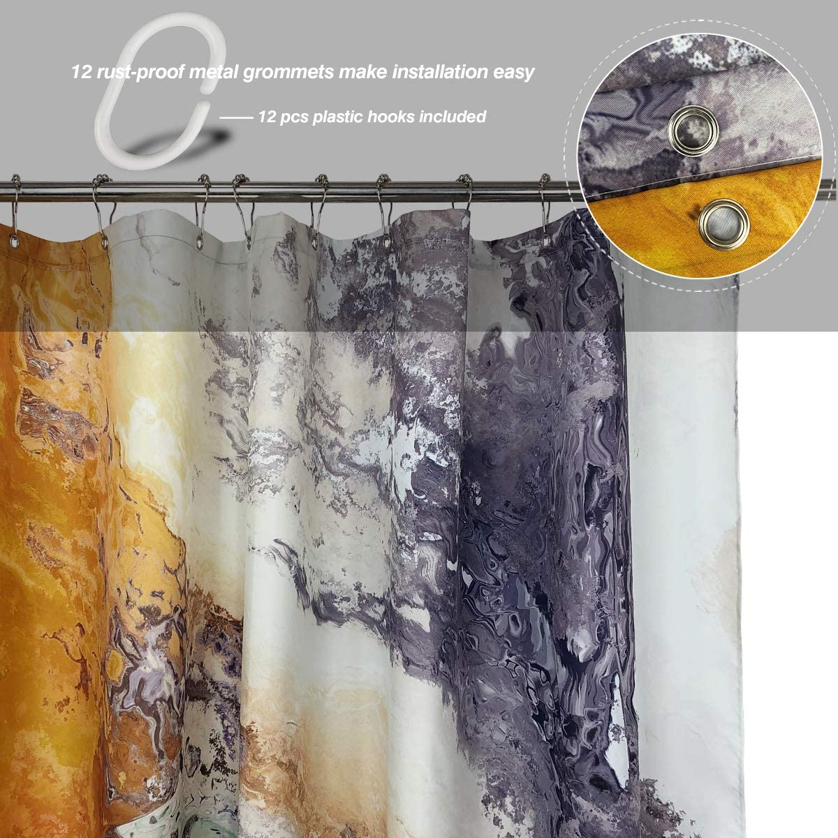 Colorful JOYMIN Shower Curtain Sets with Rugs and Accessoties Toilet Lid Cover and Bath Mat Art Print 4PCS Abstract Color Marble Ink Texture Bathroom Shower Curtain with 12 Hooks Non-Slip Rugs
