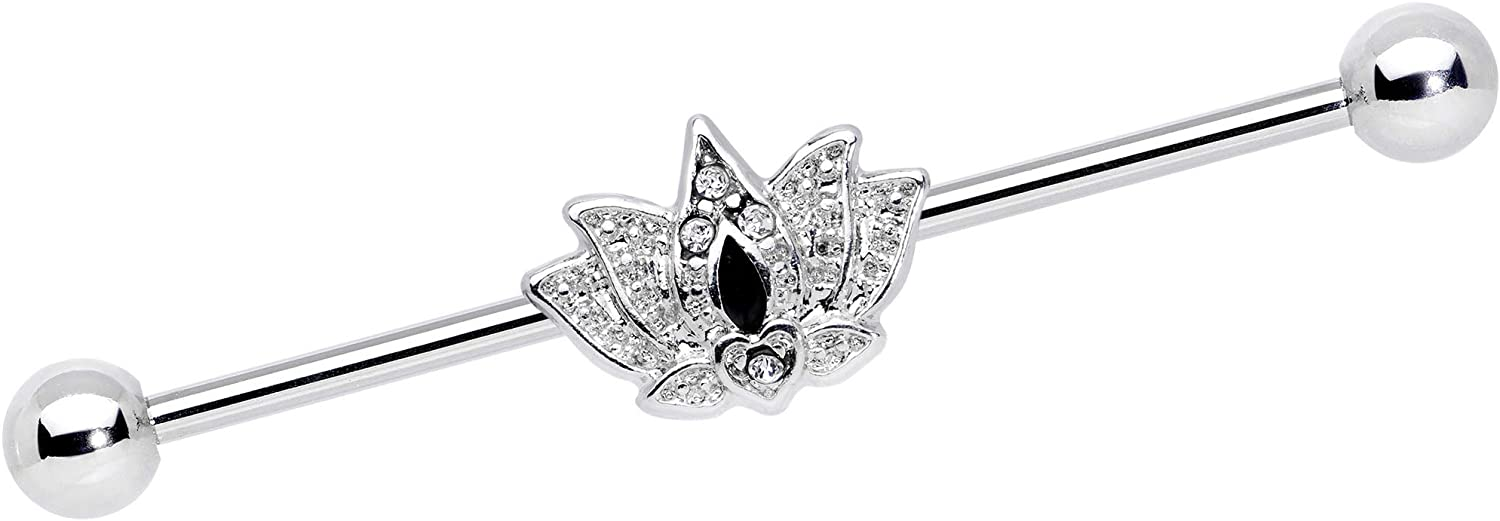 Body Candy Womens 14G Steel Helix Cartilage Earring Clear Black Accent Crown Lotus Industrial Barbell 1 1/2