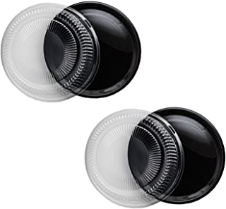 """Party Essentials Hard Plastic 12"""" Black Trays With Clear Dome Lids, Set of 2 Trays and 2 Lids, Clear/Black"""