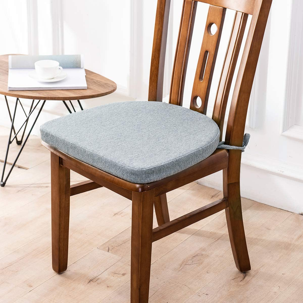 Shinnwa Chair Cushion with Ties for Dining Chairs [9 x 9.9 Inches] Non  Slip Kitchen Dining Chair Pad and Seat Cushion with Machine Washable Cover    ...
