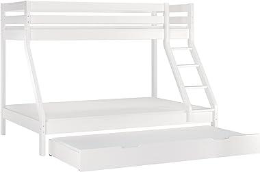 Erst-Holz Lit superposé Double 140x200 avec lit Simple 90x200 en pin Massif Blanc, literie 60.19-09-14WM