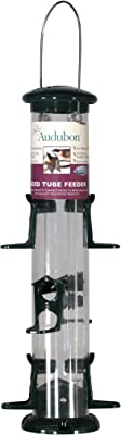 Woodlink Inch NATUBE12 Audubon Plastic 6 Port Seed Tube Feeder, Green, 15-I, Beige
