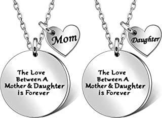 JQFEN Mother Daughter Necklaces Long Chain Heart Pendant Necklace for Mom Daughter Women Jewelery