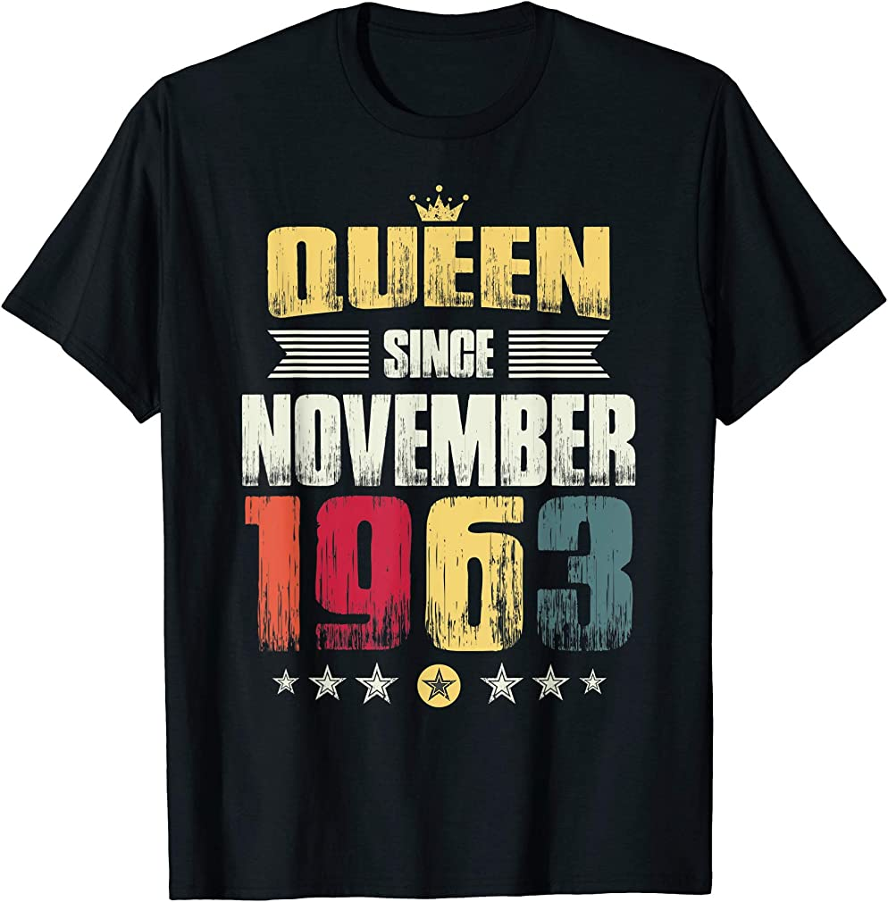56th Birthday Party Gift Women Queen Since November 1963 T-shirt