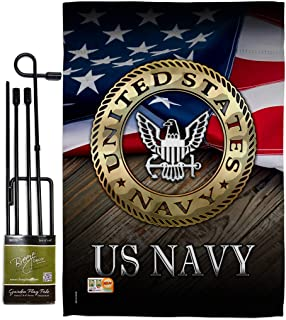 Angeleno Heritage GS137035-BO US Navy Americana Military Decorative Vertical Garden Flag with Banner Pole, Set 13