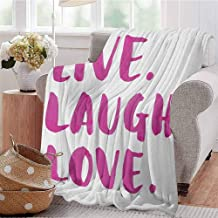 Live Laugh Love Comfortable Large Blanket Happy Life Message Calligraphy in Vibrant Tones Inspirational Theme Microfiber Blanket Bed Sofa or Travel W70 x L90 Inch Fuchsia White