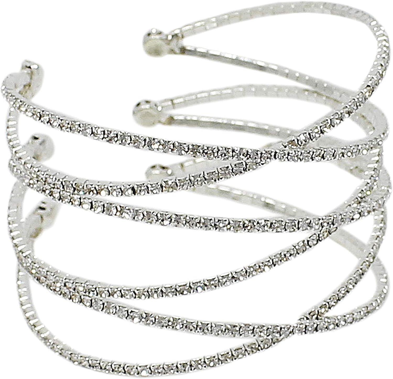 JewelryNanny Criss Cross Rhinestone Cuff Bracelet