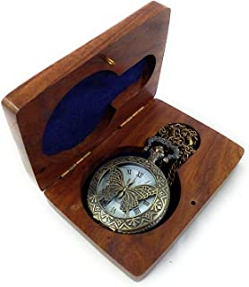 SaiArtGallery Butterfly Cover, Roman Number Dial Analogue White Dial Full Hunter Pocket Watch with Chain and Wooden Box