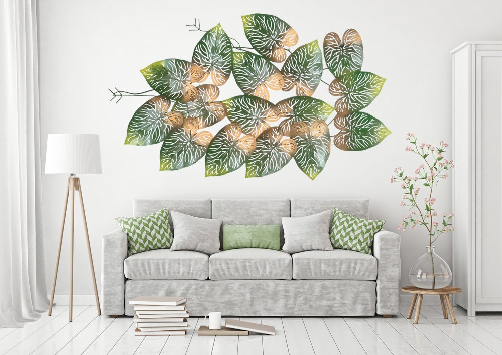 collectible india big beautiful metal led tree leaf wall art sculpture wall decor and hanging size 45 x 28 x 2 inches
