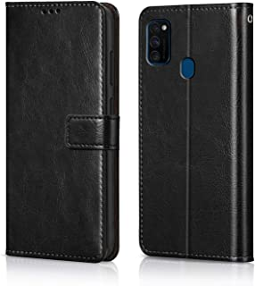 WOW Imagine Galaxy M30s Flip Case Leather Finish   Inside TPU with Card Pockets   Wallet Stand   Shock Proof   Magnetic Closure   360 Degree Complete Protection Flip Cover for Galaxy M30s - Black