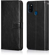 WOW Imagine Galaxy M30s Flip Case Leather Finish | Inside TPU with Card Pockets | Wallet Stand | Shock Proof | Magnetic Closure | 360 Degree Complete Protection Flip Cover for Galaxy M30s - Black