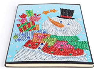 Notebook with Diamond Painting Cover Diary Book DIY Journal Book, DIY Christmas Snowman Special Shaped Diamond Painting 60 Pages A5 Notepad