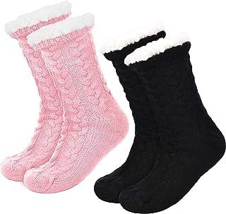 Boao, 2 Pares de Calcetines de Invierno de Mujeres Calcetines Antideslizantes Suave Calcetines Forrados de Lana Calcetines Esponjosos de Navidad