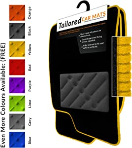 Car Mats Fit Renegade  2015   Black Tailored Car Mats with Yellow Trim  amp  Black Double Thickness Rectangle Heel Pad
