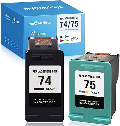 lowest MYCARTRIDGE Remanufactured Ink Cartridge Replacement for HP 74XL 75XL 74 popular 75 for PhotoSmart D5300 high quality C4480 C4500 C4400 C4280 C5280 C4580 C4385 OfficeJet J6480 DeskJet D4360 (Black, Tri-Color, 2-Pack) sale