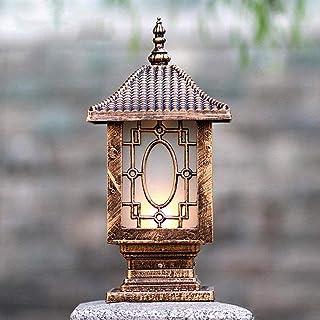IP56 Waterproof Bronze Column Lamp Outdoor Retro Aluminum Light Glass Shade Garden Lawn Fence Lantern Courtyards Balcony L...