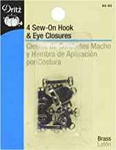 Dritz 93-65 Sew On Hook & Eye Closures Nickel 5/8-Inch, 4-Piece