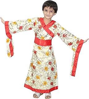 Kaku Fancy Dresses Japanese Kimono Global Traditional Costume -Cream, 14-18 Years, for Girls