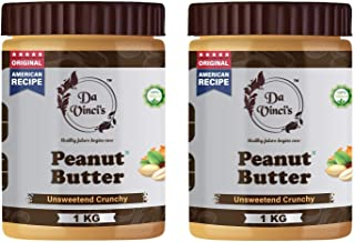 Da Vinci's Natural Peanut Butter Crunchy | Unsweetened | Made with 100% Roasted Peanuts | No Added Sugar | No Added Salt |...