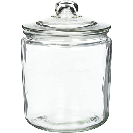 不二貿易 保存容器 キャニスター Lサイズ 直径17.5cm 目安容量約3860ml クリア ガラス アーモンド 71515