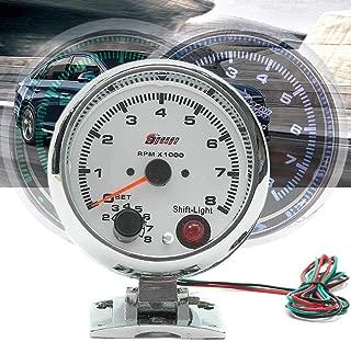 MMKUTZ - 08000RPM 7 Colors LED Backlight Tachometer Gauge WhiteWorks on 4 6 8 Cylinder Engines Universal Fits 12V Petrol Vehicle