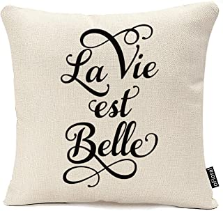 oFloral Square Pillowcase La Vie Est Belle, Life is Beautiful, French Quote, Throw Pillow 18x18 (Twin Side) Cushion Cover Case Cotton Linen