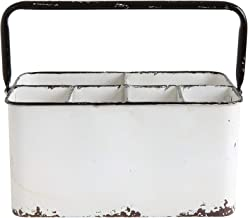 "Creative Co-Op Distressed Metal Caddy Enamel Finish with Black Rim and 6 Compartments, 11"" L x 6-1/4"" W x 9"" H, White"