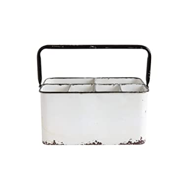 Creative Co-Op Distressed Metal Caddy Enamel Finish with Black Rim and 6 Compartments, 11  L x 6-1/4  W x 9  H, White