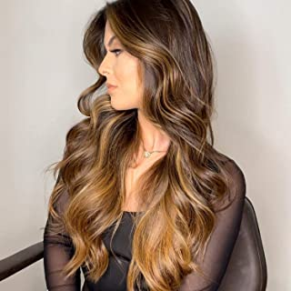 N&T Long Wavy Wigs for White Women Ombre Brown Heat Resistant Synthetic Hair Wig(28inch)