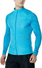 TSLA Men's UPF 50+ Zip Swim Front Long Sleeve Top Rashguard