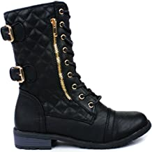 JJF Shoes Mango-79 Gold Dual Buckle Decor Zipper Lace-up Quilted Motorcycle Mid Calf Boots