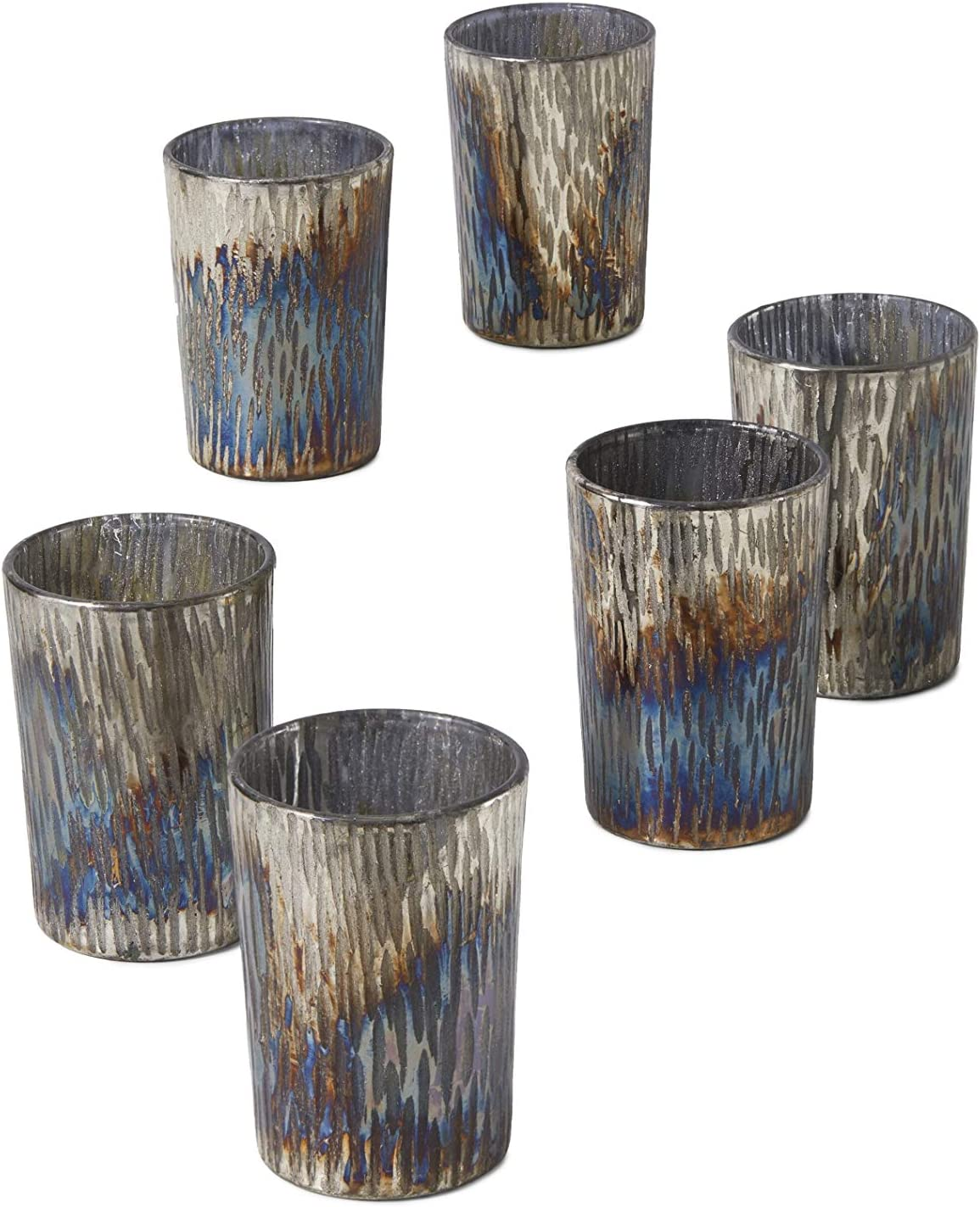 Serene Spaces New arrival Living Set of 6 Oxidized Glass Albuquerque Mall Holde Votive Candle