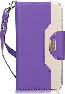ProCase Galaxy J7 2018 Wallet Case, Galaxy J7 Aero/J7 Star/J7 Top/J7 Crown/J7 Aura/J7 Refine/J7 Eon Folding Flip Kickstand Case Protective Book Cover with Card Holders Mirror Wristlet -Purple