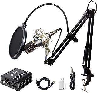 TONOR XLR 3.5mm Micrófono Condensador Profesional para Computadora Podcast Estudio con Soporte de Micrófono Ajustable Filtro Anti-Pop 48V Phantom Fuente de Alimentación Negro