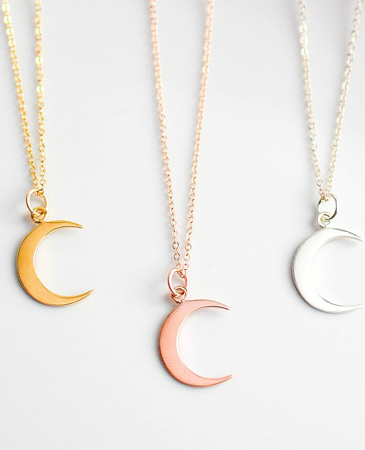 Crescent Moon Necklace New Orleans Mall Super special price in Sterling Silver or G Filled Rose Gold